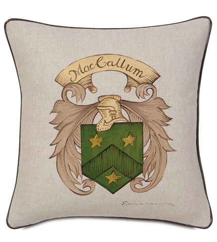 Image of Hand-Painted Name Pillow with Crest