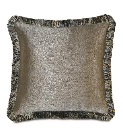 Image of Dunaway Umber Pillow with Brush Fringe