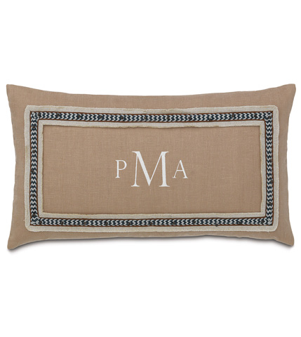 Eastern Accents - Breeze Sand Pillow with Monogram - NAY-12
