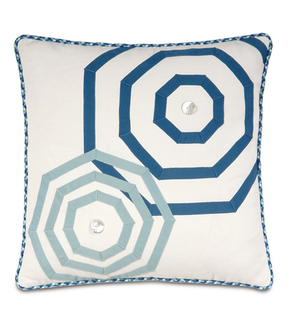 Image of Baldwin White Pillow with Ribbon Design