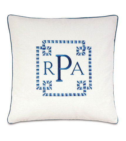 Eastern Accents - Baldwin White Pillow with Monogram - OLY-04