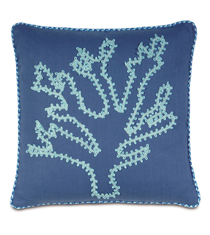 Image of Breeze Sapphire Pillow with Coral Design