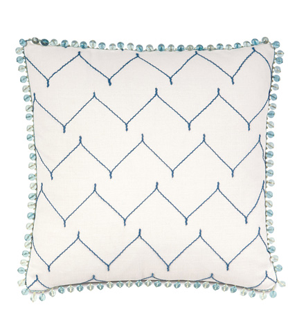 Image of Zolah Indigo Pillow with Beaded Trim