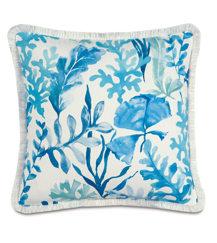 Image of Olympia Azure Pillow with Brush Fringe