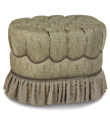 Image of Laurent Spa Oval Tufted Ottoman