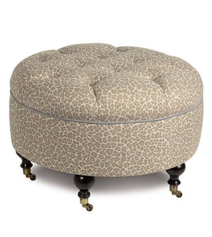 Eastern Accents - Parrish Fawn Round Ottoman - OTD-312