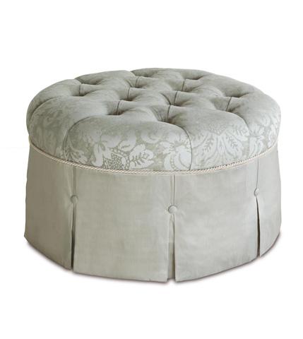 Image of Lourde Celadon Round Ottoman
