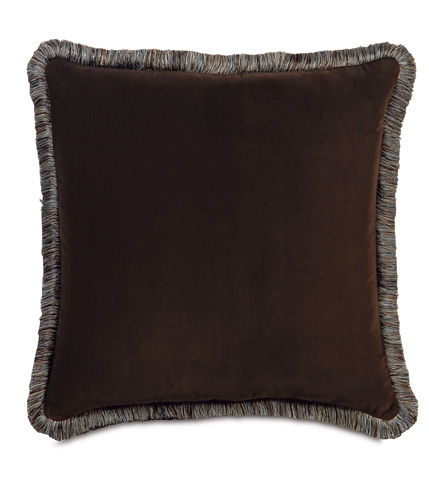 Eastern Accents - Jackson Brown Pillow with Brush Fringe - POW-01