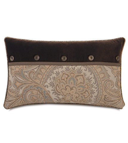 Eastern Accents - Jackson Brown Pillow with Buttons - POW-02
