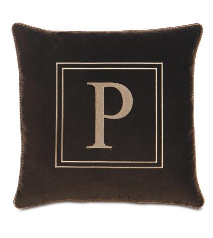 Image of Jackson Brown Pillow with Monogram