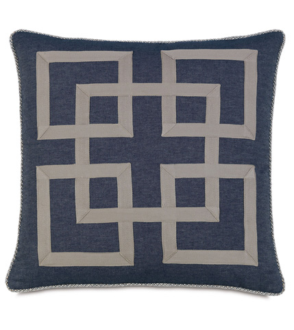 Image of Strauss Denim Pillow With Graphic Design