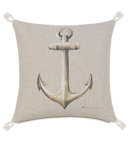 Image of Hand-Painted Anchor Pillow