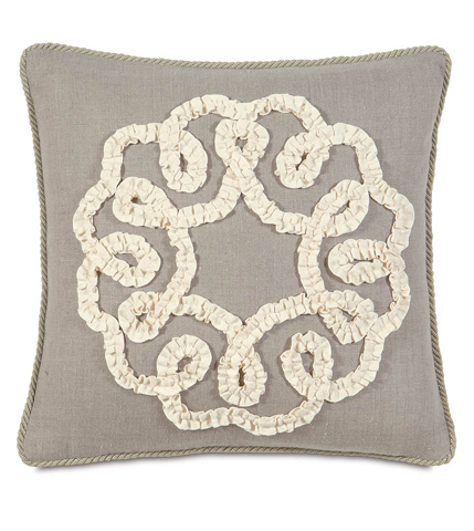 Image of Breeze Linen Pillow with Ruffled Ribbon