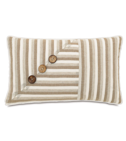 Image of Linum Natural Pillow with Buttons