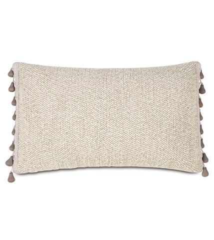 Image of Corfis Vanilla Pillow with Beaded Trim