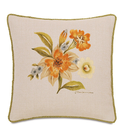 Image of Hand-Painted Stelling Motif Pillow