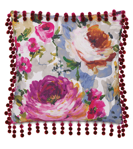 Image of Tresco Bloom Pillow with Ball Trim