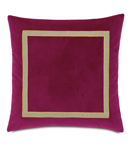 Image of Plush Raspberry Pillow with Border