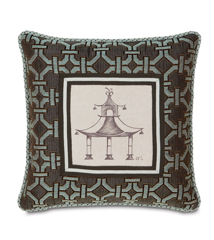 Eastern Accents - Hand-Painted Pagoda Pillow with Cord - VRA-11