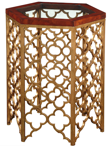 Emerson Bentley - Gold Leaf Glass Top End Table - 10131