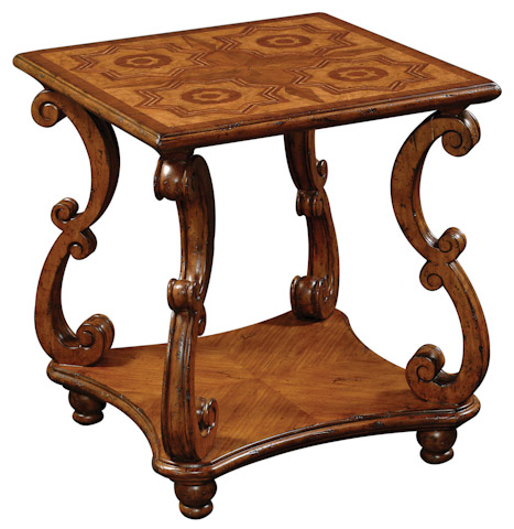 Emerson Bentley - Intaglio End Table with Hand Carved Scroll Legs - 28020