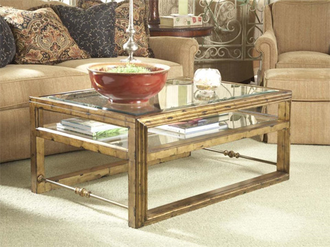 Fine Furniture Design - Gold Cocktail Table with Glass Shelf - 920-910