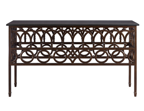 Fine Furniture Design - Iron Console with Black Marble Top - 1160-944B