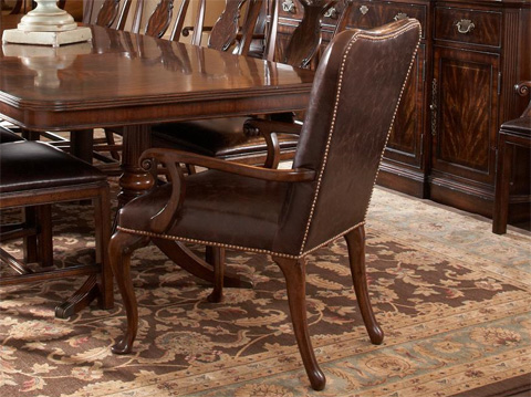 Image of Leather Upholstered Dining Arm Chair