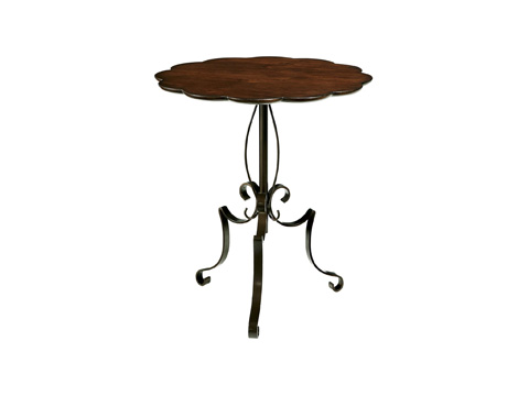 Image of Scalloped Metal and Wood Table