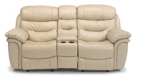 Flexsteel - Leather Power Loveseat with Console - 1285-604P