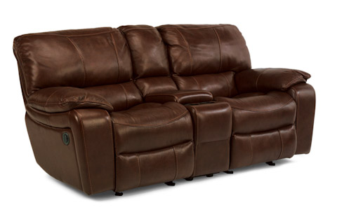 Flexsteel - Power Leather Loveseat with Console - 1241-604P