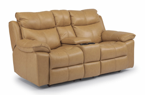 Flexsteel - Power Leather Loveseat with Console - 1320-604P