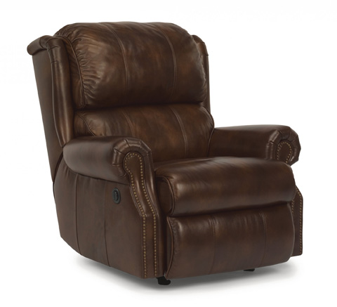 Image of Comfort Zone Brown Power Leather Recliner
