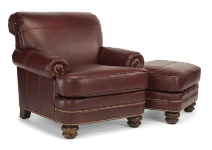 Flexsteel - Bay Bridge Leather Chair and Ottoman - B3791-08/B3791-10