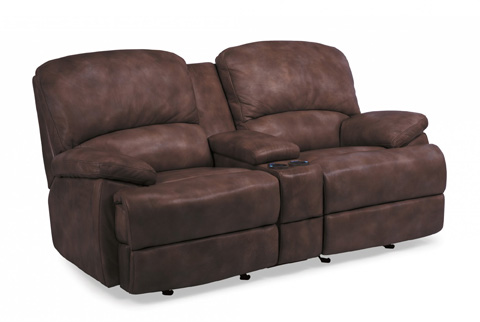 Image of Leather Power Chaise Reclining Loveseat