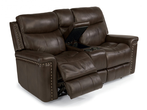 Flexsteel - Leather Power Reclining Loveseat with Console - 1339-604P