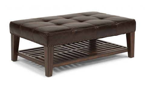 Image of Leather Rectangular Cocktail Ottoman