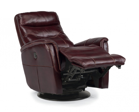 Image of Queen Leather Power Swivel Gliding Recliner