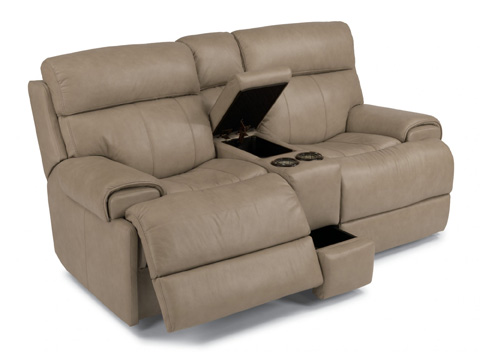 Image of Leather Power Reclining Loveseat with Console