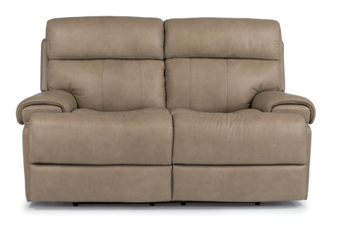 Image of Leather Power Reclining Loveseat
