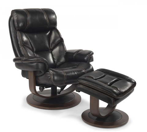 Flexsteel - Leather Chair and Ottoman - 1453-CO