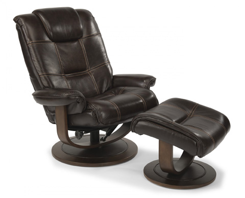 Flexsteel - Leather Chair and Ottoman - 1457-CO