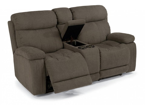 Image of Fabric Power Reclining Loveseat with Console