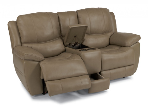Flexsteel - Leather Power Reclining Loveseat with Console - 1491-604P
