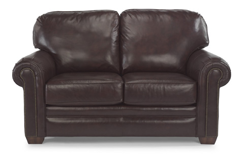 Image of Leather Loveseat with Nailhead Trim