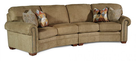 Image of Fabric Conversation Sofa with Nailhead Trim