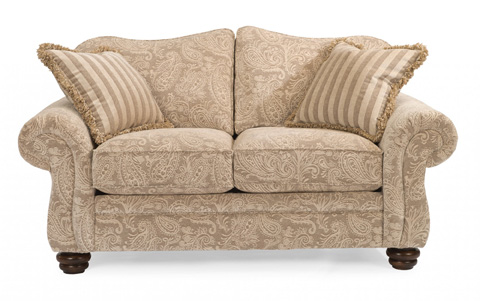 Image of One-Tone Fabric Loveseat without Nailhead Trim