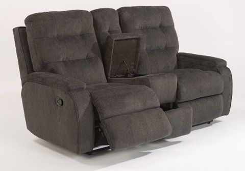 Image of Fabric Reclining Loveseat with Console