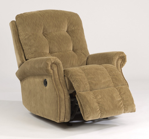 Image of Fabric Power Recliner with Nailhead Trim