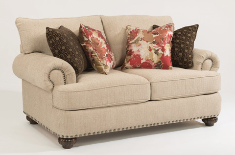 Image of Fabric Loveseat with Nailhead Trim